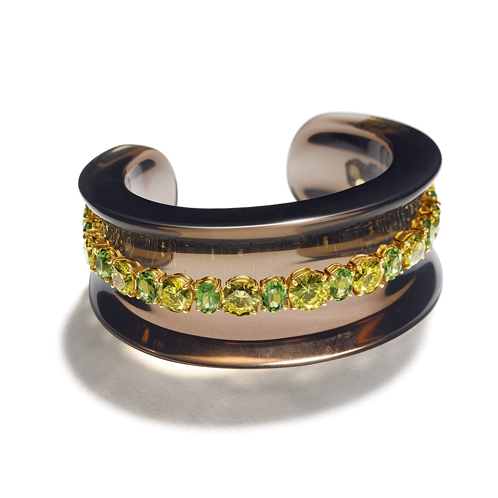 Belperron-Jewelry-Saddle-Cuff-Number-3-Smokey-Quartz-Yellow-Diamond-and-Peridot