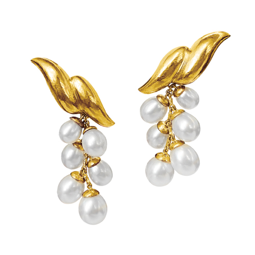Belperron-Jewelry-Double-Wave-Pendant-Earclips-Virgin-Gold-Pearl