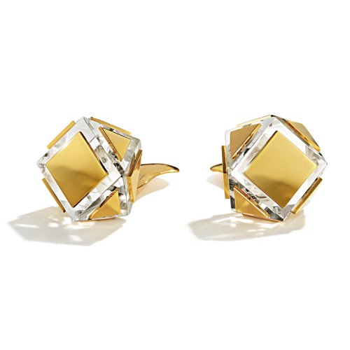 Belperron-Jewelry-Faceted-Earclips-Rock-Crystal-Gold