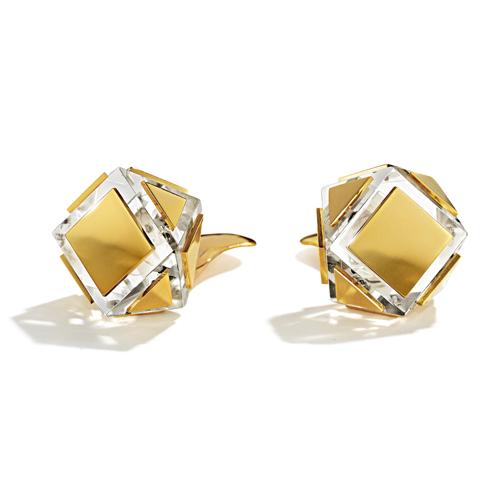Belperron-Jewelry-Faceted-Earclips-Rock-Crystal-Gold