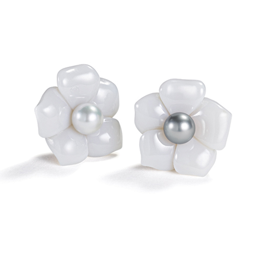 Belperron-Jewelry-Fleur-Earclips-White-Chalcedony-South-Sea-and-Tahitian-Pearl