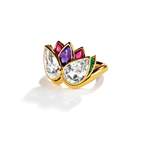 Belperron-Jewelry-Lotus-Ring-White-Topaz-Amethyst-Ruby-Emerald
