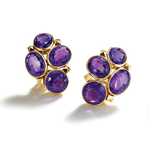 Belperron-Jewelry-Melange-Earclips-Amethyst-Gold