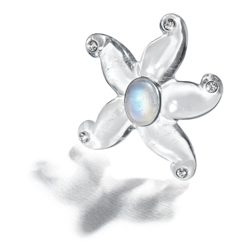 Belperron-Jewelry-Starfish-Brooch-Rock-Crystal-Rainbow-Moonstone