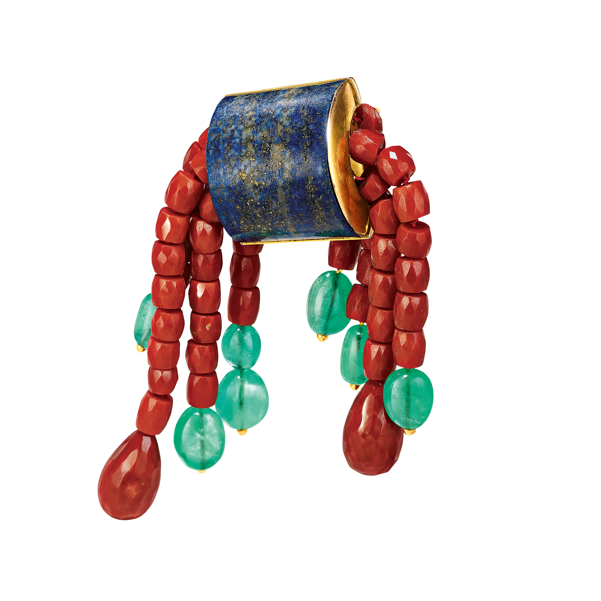 Vintage Tonneau Brooch_Lapis-Coral-Emerald_19